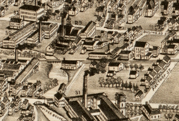 1890 aerial view of Hyde Park Avenue and Mother Brook
